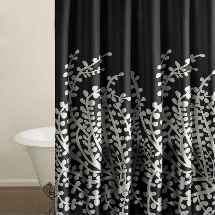 Black white and purple curtains